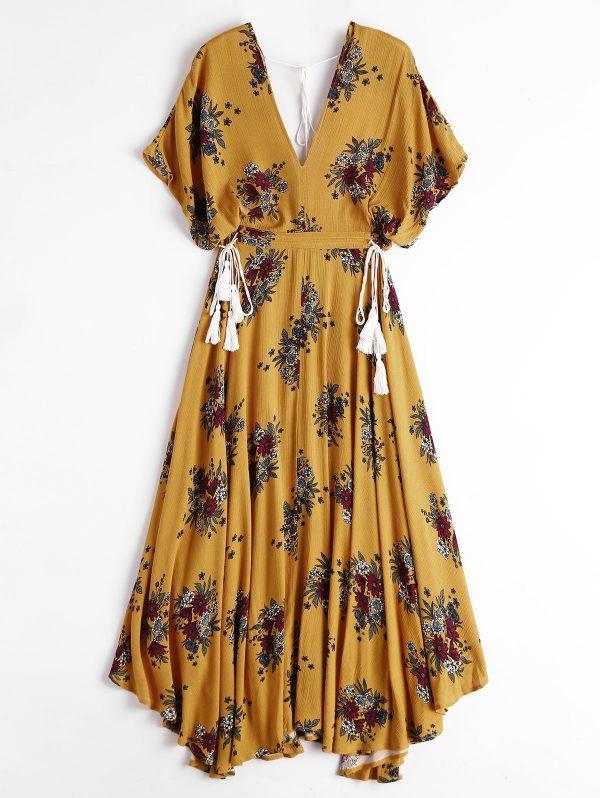 Batwing Floral Cut Out Midi Dress