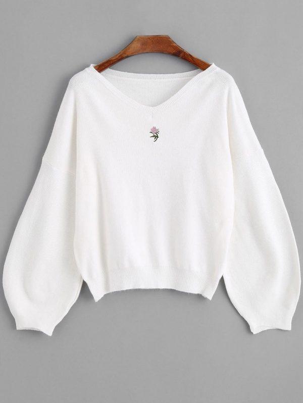 Lantern Sleeve Embroidered V Neck Sweater