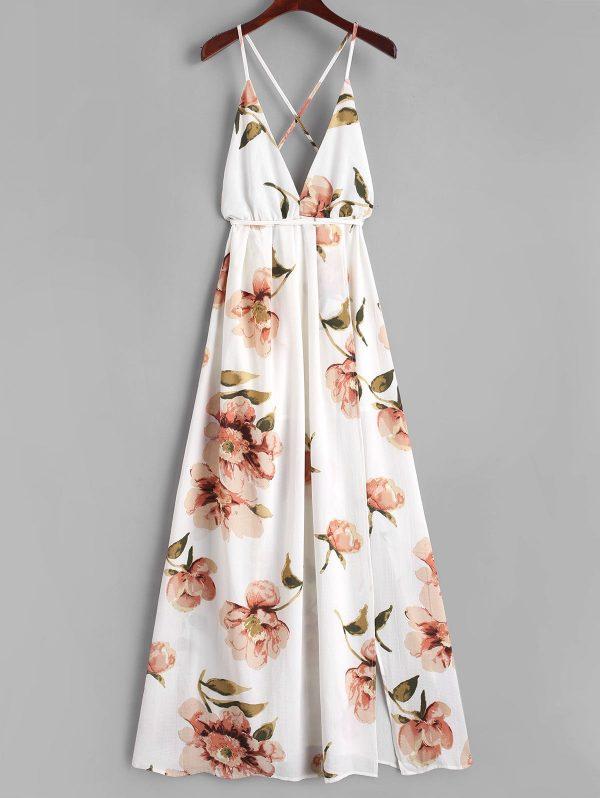 Slit Floral Criss Cross Maxi Dress