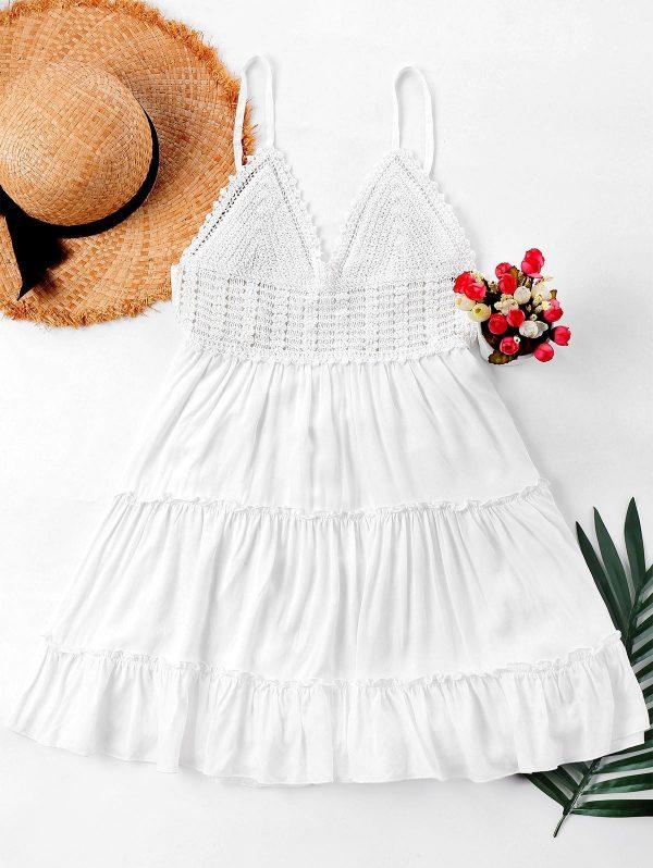Crochet Panel Cami Flare Dress