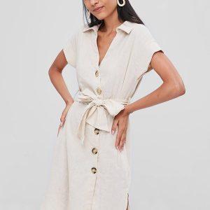 Slit Button Up Shirt Dress