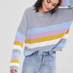 ZAFUL Pullover Colorful Stripes Sweater – Multi