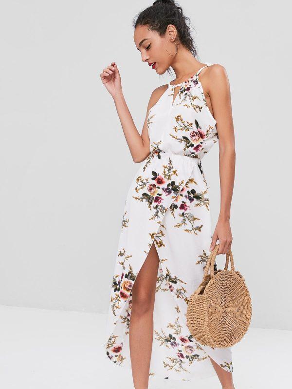 Cut Out Floral Overlap Dress