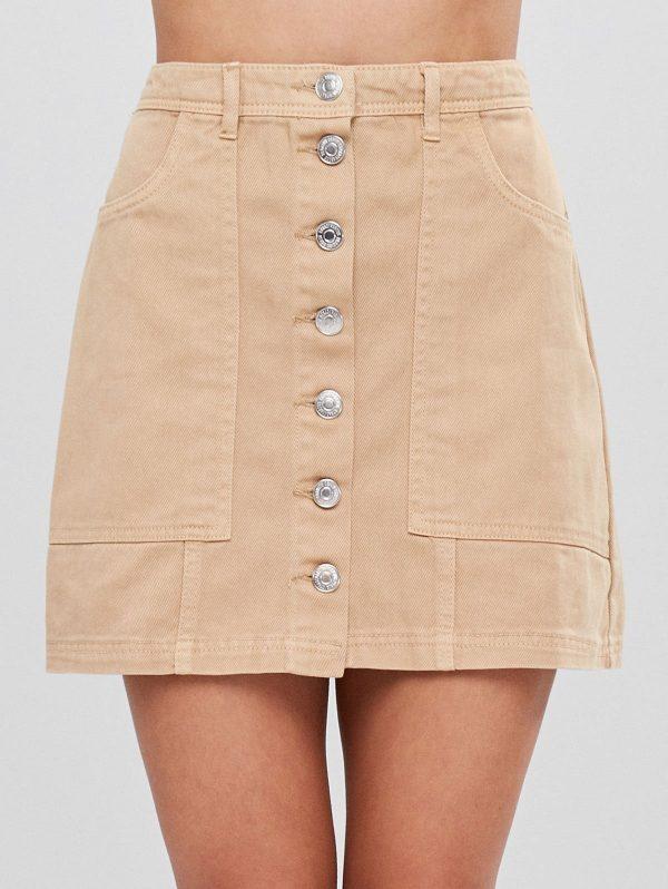 Button Up Cargo Pockets Twill Mini Skirt