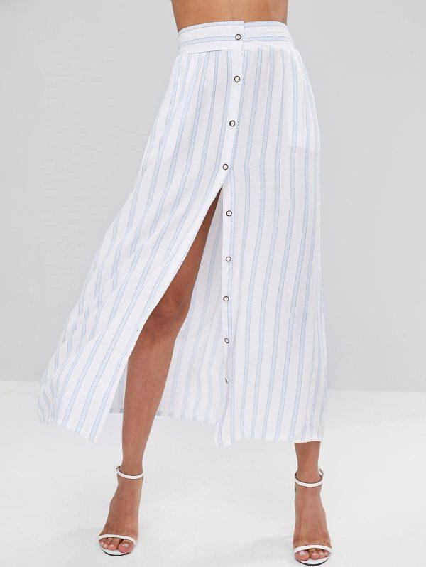 Button Up Striped Skirt