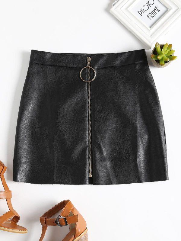 Zip Up PU Leather Mini Skirt