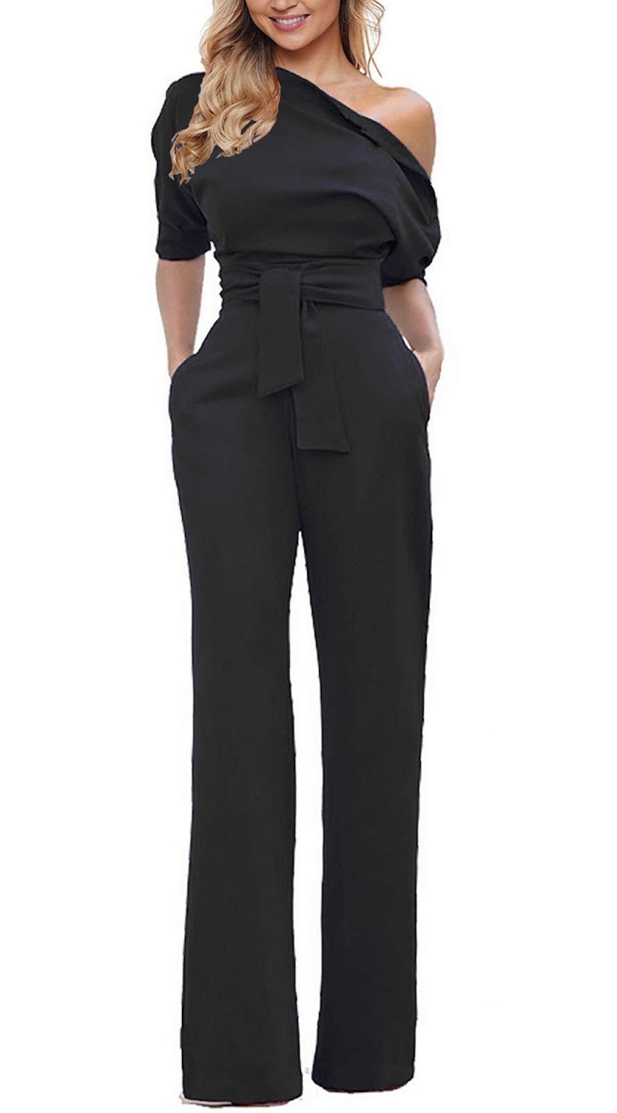 Grace Elbe Women's Wide Leg Slanted One Shoulder Belted Jumpsuits