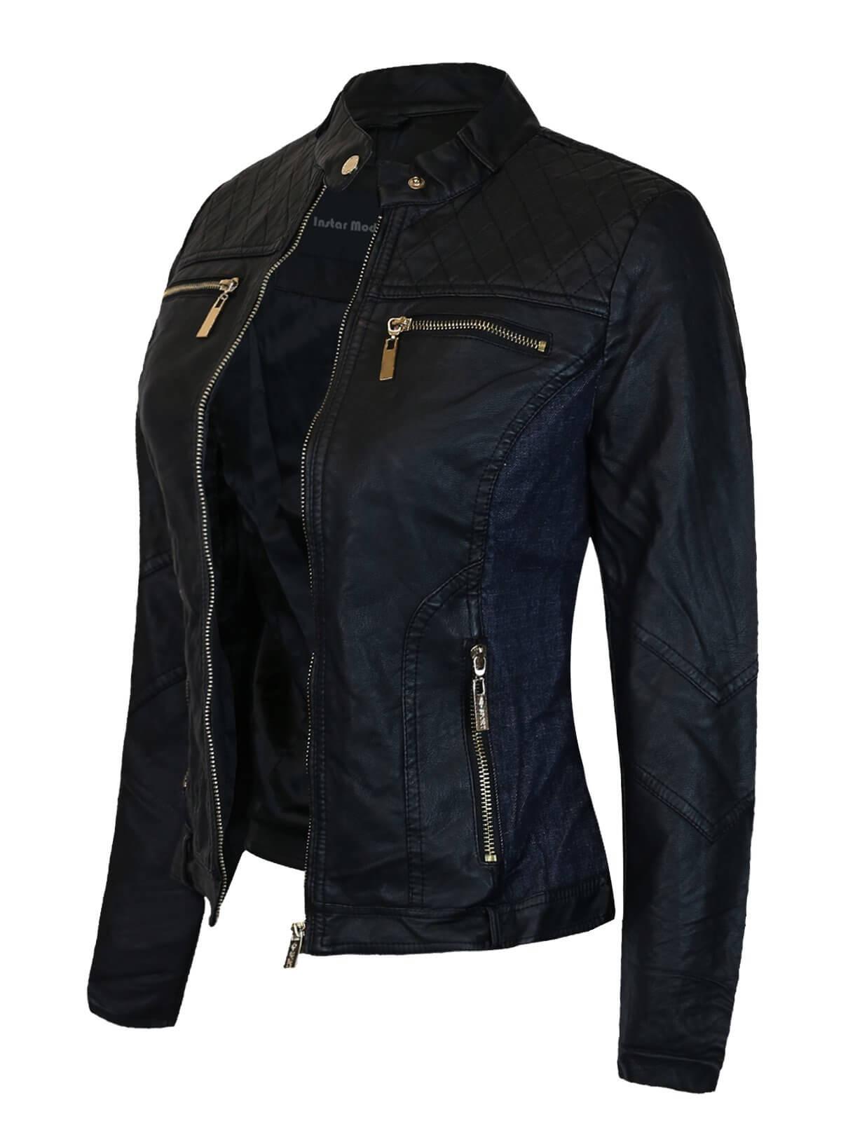 Women's Faux Leather Suede Zip Up Moto Biker Jacket Coat