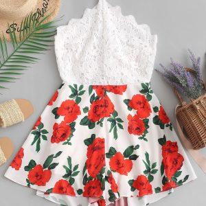 Floral Print Lace Panel Wide Leg Romper