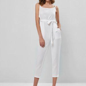 Sleeveless Tie Shoulder Belted Pocket Jumpsuit