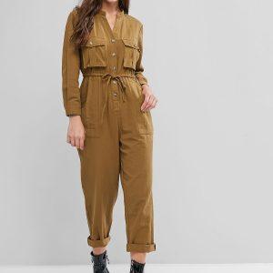 Buttoned Pockets V Neck Drawstring Jumpsuit